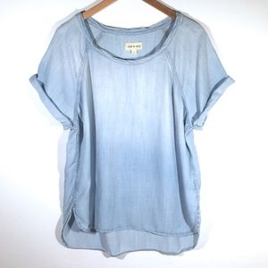 Cloth & Stone Top Rolled Cuff Sleeve Chambray